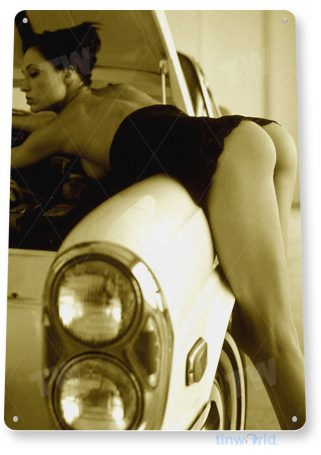 tin sign a390 try it now pin-up girl hot rod garage auto shop cave tinworld tinsign_com
