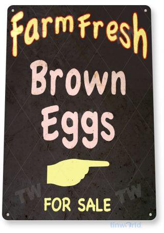 tin sign a393 fresh farm brown eggs rustic sign kitchen cottage farm tinworld tinsign_com