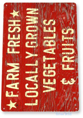 tin sign a394 fresh fruits vegetables rustic sign kitchen cottage farm tinworld tinsign_com