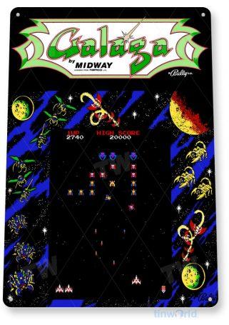 tin sign a400 galaga arcade shop game room marquee sign retro console tinworld tinsign_com