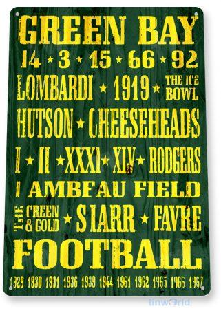 tin sign a415 green bay rustic retro football sign lambeau field football sports cave tinworld tinsign_com