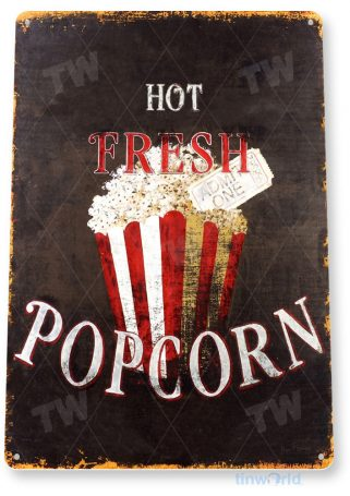 tin sign a430 hot fresh popcorn rustic home theater sign kitchen cottage cave tinworld tinsign_com