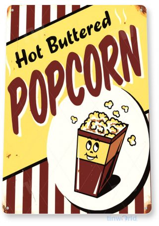 tin sign a431 hot popcorn rustic home theater sign kitchen cottage cave tinworld tinsign_com