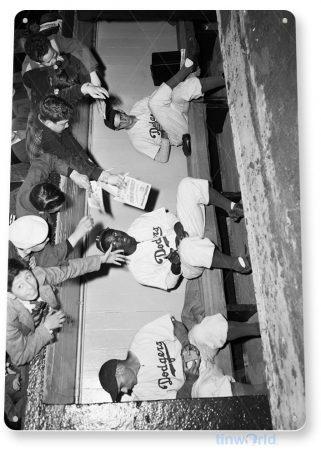 tin sign a449 jackie robinson autograph baseball historic photo tinworld tinsign_com