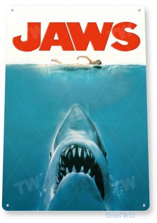 tin sign a452 jaws retro movie poster home theater tinworld tinsign_com