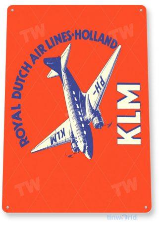 tin sign a464 klm airlines retro airline sign aviation hangar garage cave tinworld tinsign_com