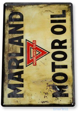 tin sign a488 marland motor oil rustic garage sign auto shop cave tinworld tinsign_com