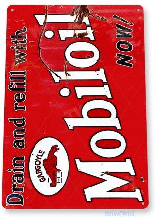 tin sign a497 mobil oil mobiloil rustic gas oil sign garage auto shop cave tinworld tinsign_com