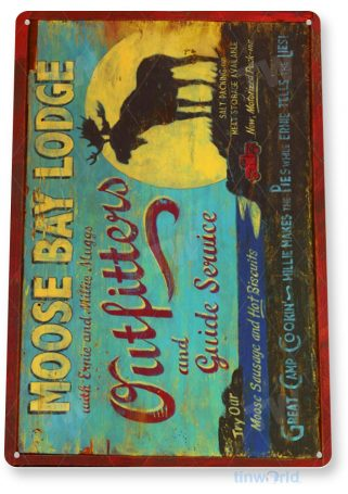 tin sign a506 moose bay rustic lodge sign kitchen cottage farm cave tinworld tinsign_com