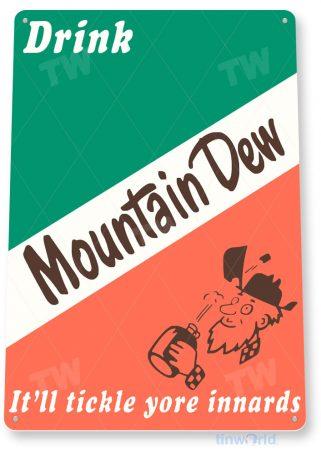 tin sign a515 mountain dew tickle retro soda cola sign kitchen cottage farm cave tinworld tinsign_com