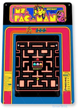 tin sign a516 ms pac man arcade shop game room marquee sign retro console tinworld tinsign_com