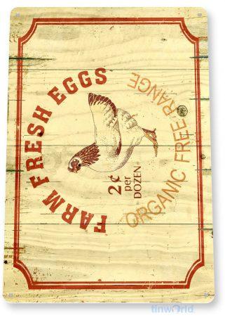 tin sign a537 organic fresh eggs rustic farm sign kitchen cottage tinworld tinsign_com