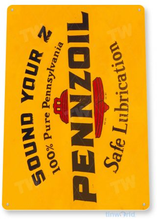 tin sign a561 pennzoil safe lubrication retro oil gas sign auto shop garage cave tinworld tinsign_com