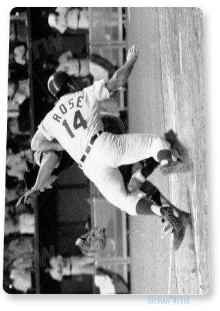 tin sign a566 pete rose sliding home cincinnati reds baseball historic photo tinworld tinsign_com