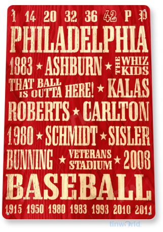 tin sign a567 philadelphia phillies retro rustic baseball sign shop cave tinworld tinsign_com