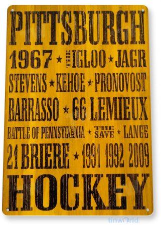 tin sign a571 pittsburgh penguins rustic retro hockey sign bar cave tinworld tinsign_com