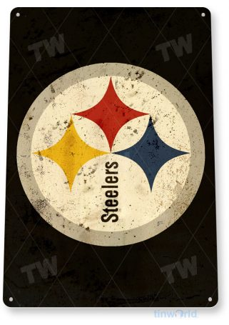 tin sign a572 pittsburgh steelers rustic football sign sports bar cave tinworld tinsign_com