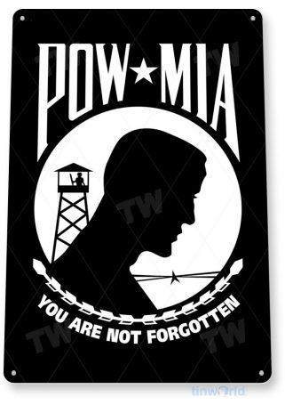 tin sign a580 pow-mia flag sign not forgotten veteran patriotic tinworld tinsign_com