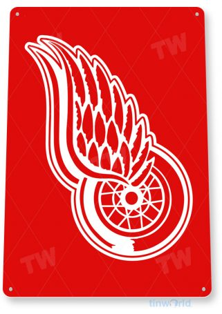 tin sign a590 red wings hockey sports sign bar cave tinworld tinsign_com