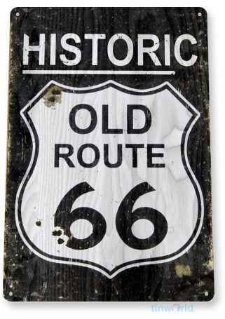 tin sign a598 route 66 historic rustic road sign cottage auto shop cave tinworld tinsign_com