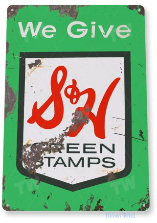 tin sign a601 s & h green stamps rustic retro sign kitchen cottage farm tinworld tinsign_com