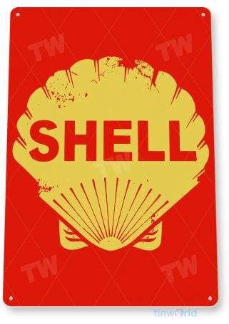 tin sign a604 shell oil rustic gas station sign garage auto shop cave tinworld tinsign_com