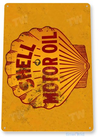 tin sign a607 shell motor oil rust rustic gas station sign garage auto shop cave tinworld tinsign_com