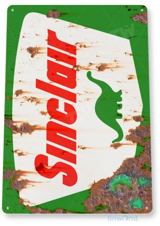 tin sign a609 sinclair gas dino rustic rust gas station sign garage auto shop cave tinworld tinsign_com