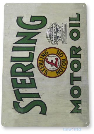 tin sign a621 sterling motor oil rustic retro gas sign garage auto shop cave tinworld tinsign_com