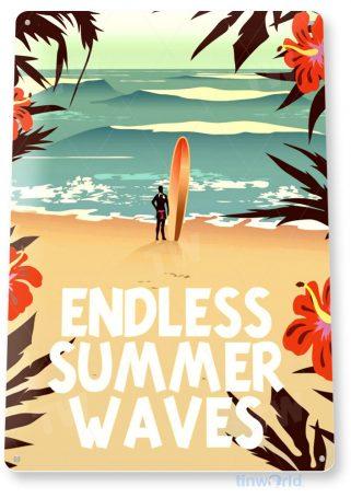 tin sign a631 summer waves surf sign shop cottage beach house tiki bar tinworld tinsign_com