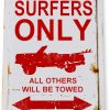 tin sign a637 surfers parking only rustic surf sign beach house cottage tiki bar cave tinworld tinsign_com