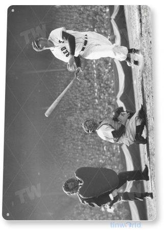 tin sign a641 ted williams home run historic yankees baseball photo tinworld tinsign_com