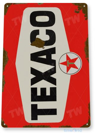 tin sign a644 texaco red rust oil gas station sign auto shop garage cave tinworld tinsign_com