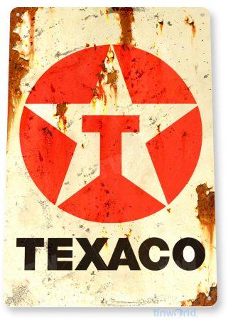 tin sign a645 texaco rust oil gas station sign auto shop garage cave tinworld tinsign_com