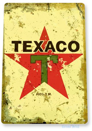 tin sign a646 texaco gas rustic retro oil sign auto shop garage cave tinworld tinsign_com