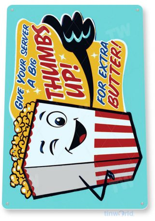 tin sign a652 thumbs up popcorn home theater sign kitchen cottage cave tinworld tinsign_com