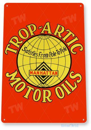tin sign a656 trop-artic motor oil retro gas oil sign auto shop garage cave tinworld tinsign_com