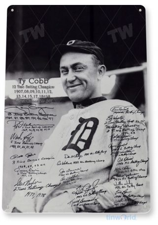 tin sign a659 ty cobb & batting champions historic detroit baseball photo tinworld tinsign_com