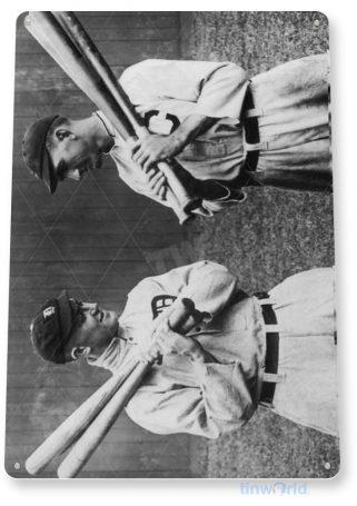 tin sign a661 ty cobb, shoeless joe jackson historic baseball photo shop cave tinworld tinsign_com