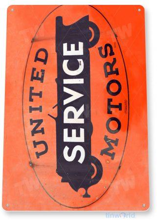 tin sign a667 united service motors rustic retro auto shop sign garage cave tinworld tinsign_com
