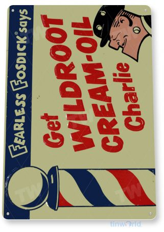 tin sign a683 wildroot cream rustic retro oil barber pole shop store farm tinworld tinsign_com