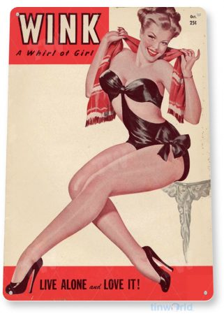 tin sign a688 wink whirl pin-up girl retro magazine cover shop cave tinworld tinsign_com