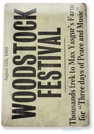 tin sign a691 woodstock festival retro music sign shop store cave tinworld tinsign_com