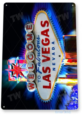 tin sign a701 welcome to las vegas hotel casino sign cave tinworld tinsign_com