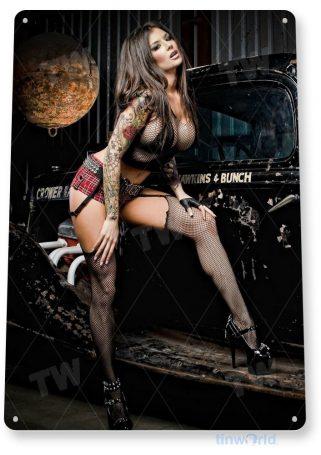 tin sign a711 black widow hot rod pin-up girl auto shop garage cave tinworld tinsign_com