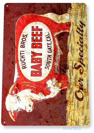 tin sign a712 ruchti bros rustic cow beef sign kitchen cottage farm store tinworld tinsign_com
