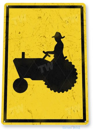 tin sign a713 tractor crossing road sign kitchen cottage farm tinworld tinsign_com