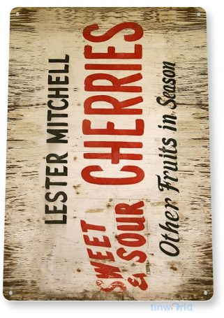 tin sign a715 cherries sweet rustic sign kitchen cottage farm market store tinworld tinsign_com