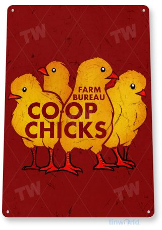 tin sign a716 coop chicks chickens rustic egg sign kitchen cottage farm store tinworld tinsign_com