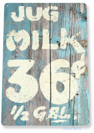 tin sign a724 milk jug rustic sign dairy kitchen cottage farm store tinworld tinsign_com